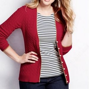 Lands End Tipped V-neck Cable Cardigan Red